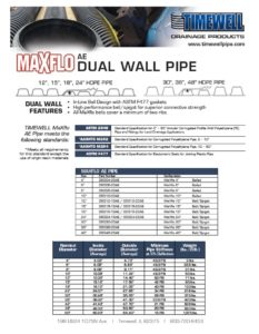 Timewell HDPE MaXflo AE Dual Wall Pipe Specifications & Standards